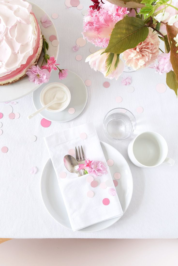 Tabletop: Springtime Pink Confetti + Tulips