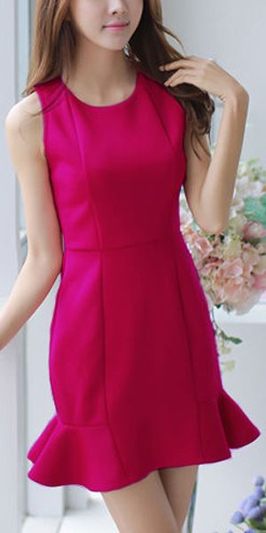 Elegant Solid Color Sleeveless Round Neck Flouncing Dress