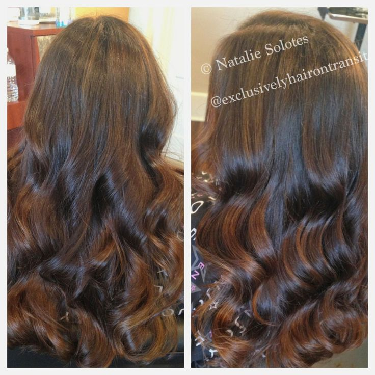 Brunette Balayage with golden brown highlights and golden copper lowlights long layers seamless haircut long hairstyles brunette highlights done right...
