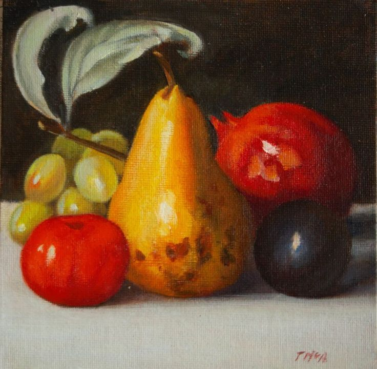 """Still life painting """" FRUIT"""" OIL in canvas board 6x6 inches #Realism"""