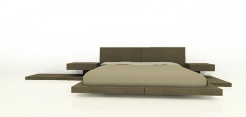Bed with Built In Side Tables by ONOMO - I like the asymmetry