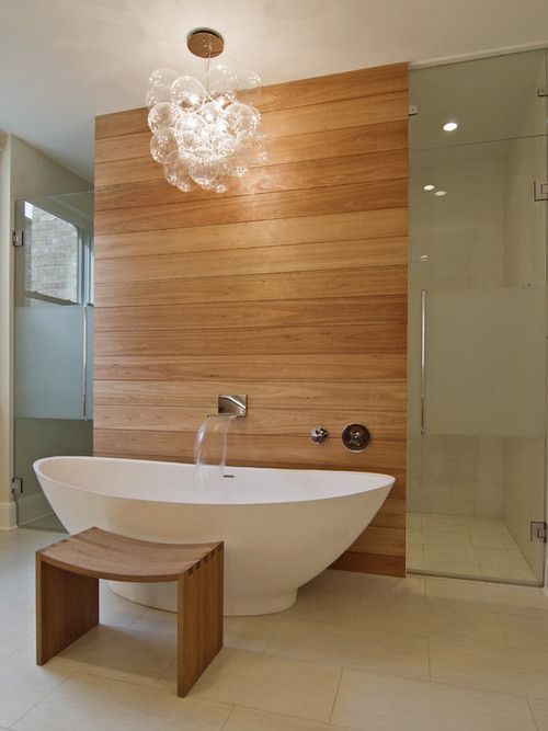 Spa like bathroom...beauty and simplicity...great pendant too!