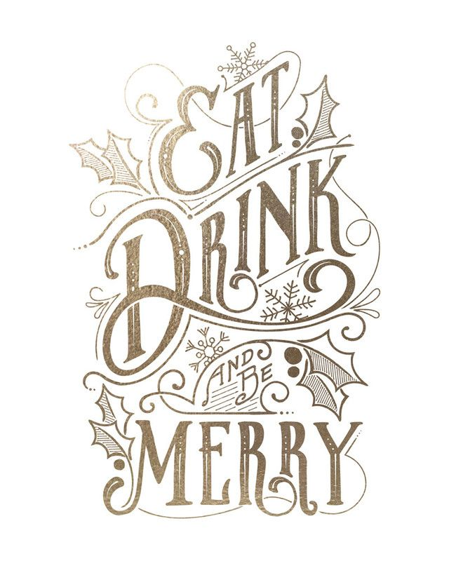eat, drink, and be merry: gold-foil holiday art print