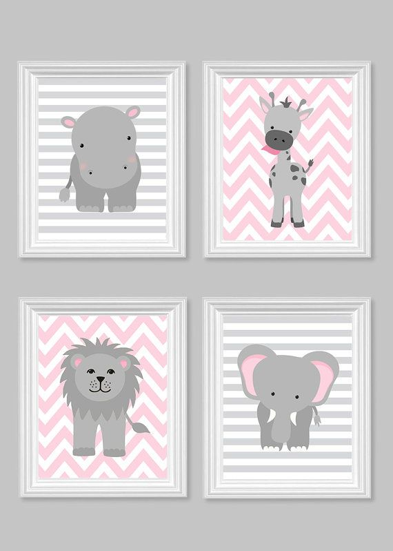 Girl's Room Decor Gray and Pink Girl Zoo by SweetPeaNurseryArt