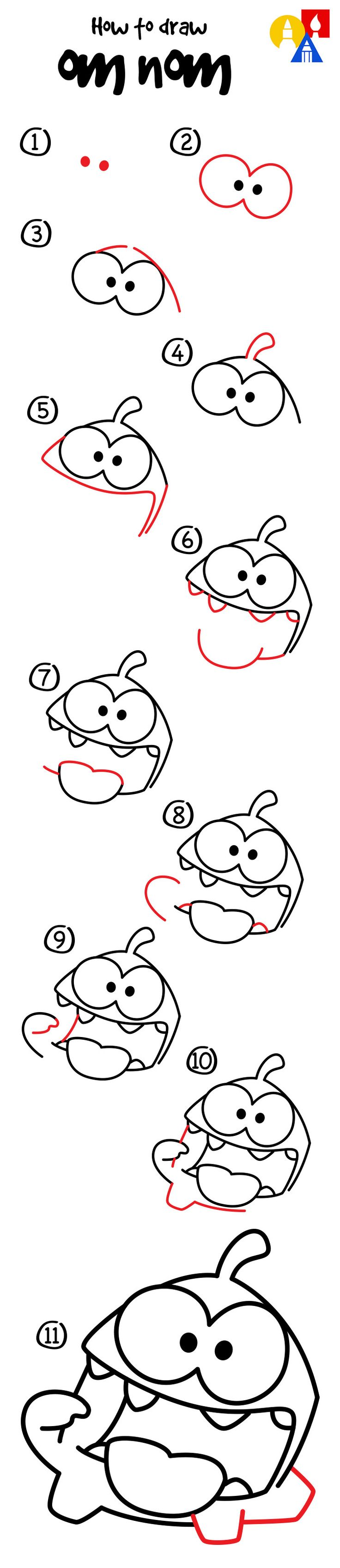How to draw Om Nom, just for kids!