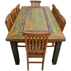 Conjunto Mesa + 8 Cadeiras Rústicas em Peroba Rosa - 5021 #artemoveisrusticos #arte #moveis #rusticos #moveisrusticos #mesa #cadeiras #mesarustica #cadeirarustica #cadeirasrusticas #mesacomtinta #cozinha #cozinharustica