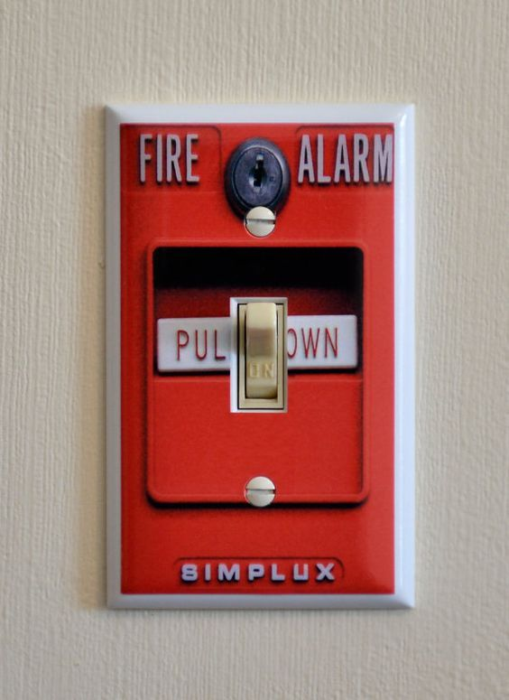 firefighter man cave, fire alarm light switch