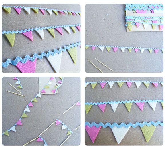 rick rack bunting tutorial, mini bunting tutorial, cupcake bunting, felt bunting, felt garland
