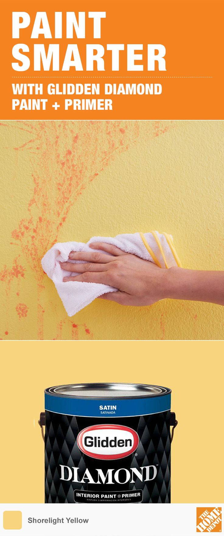 Get beautiful, stain-resistant color for half the cost of leading paint brands. Durable Glidden Diamond Paint + Primer holds up to scrubbing without damaging walls. It's a great idea for DIYing high-traffic areas like bathrooms, kids' rooms, and kitchens. Available exclusively at The Home Depot.