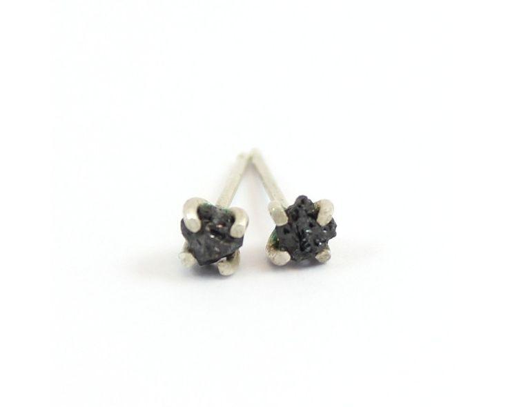 Black Diamond Stud Earrings - Pretty Birds Creations