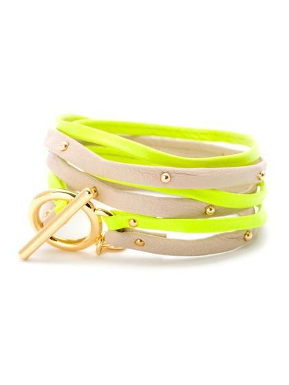 Neon Yellow & Bone Leather Graham Double Strand Triple Wrap Bracelet by Gorjana on Gilt.com
