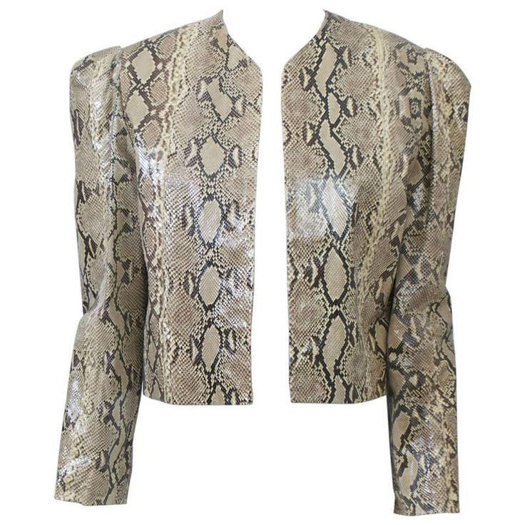 Snakeskin Cropped Jacket | From a collection of rare vintage jackets at https://www.1stdibs.com/fashion/clothing/jackets/