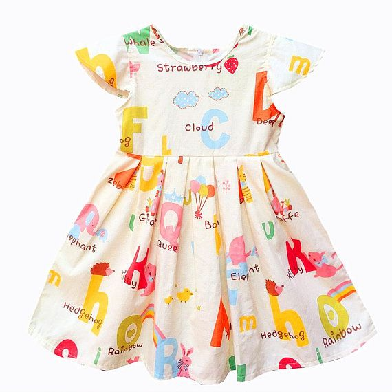 364fc3a31215 Alphabet Dress, Zoo Animal little girls dress, Birthday dress, Monogrammed  Little Girl Dress