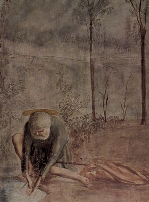 Masaccio: Freskenzyklus der Brancacci-Kapelle in Santa Maria del Carmine in Florenz, Szenen aus dem Leben Petri, Szene: Der Zinsgroschen, Detail: Petrus und Fisch