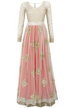 anarkali with pajami/palazzos instead of a lengha, with the lining attached to the bodice, all in dusty rose and gold, with a coordinating dupatta. possible less embroidery