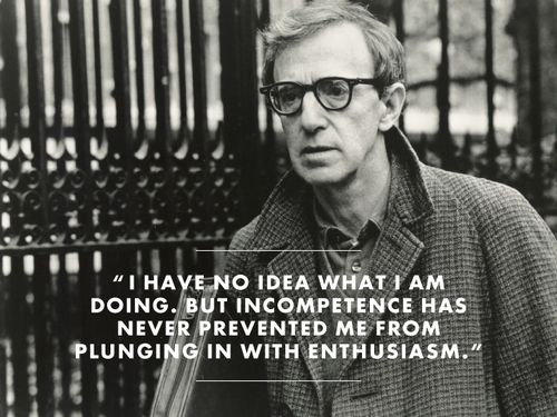 """""""I have no idea what I am doing, but incompetence has never prevented me from plunging in with enthusiasm."""" - Woody Allen"""