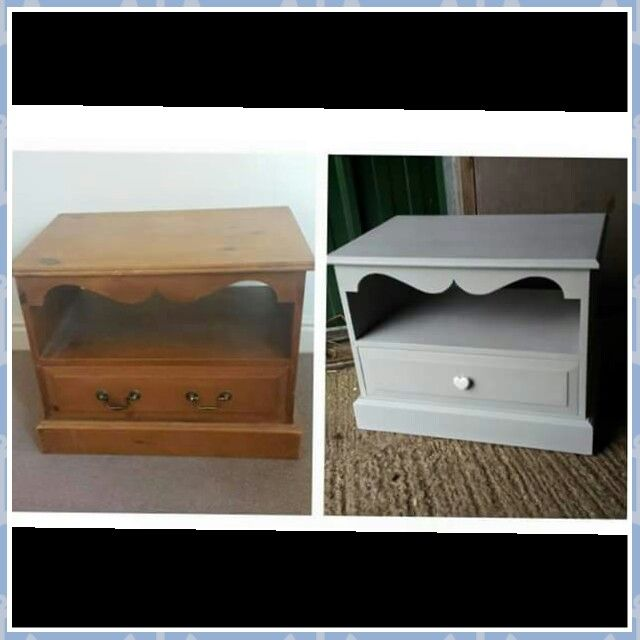 Annie Sloan Chalk Paint tv cabinet in Paris Grey smooth finish. Changed the handles to one cute heart handle