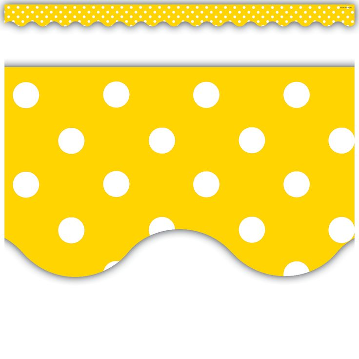 Yellow Mini Polka Dots Scalloped Border Trim - Use this colorful border trim to liven up your classroom! Create fresh looks for bulletin boards, windows, walls, and class projects. Layer them for extra impact. Or mix and match them with coordinating products (stickers, notepads, awards, etc.) to promote a classroom theme. Each pack has 12 pieces (2 3/16'' x 35'') for a total length of 35 feet of trim!