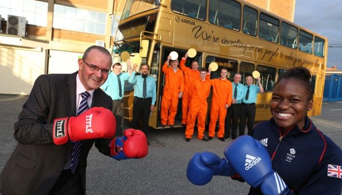 Arriva Yorkshire celebrating their Investors in People Gold Success with Olympic gold hero Nicola Adams and a specially commissioned 'gold bus'