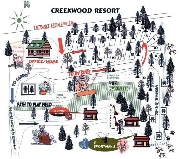Places To Camp Pa: Creekwood: Georgia Mountain Cabin Rental Map