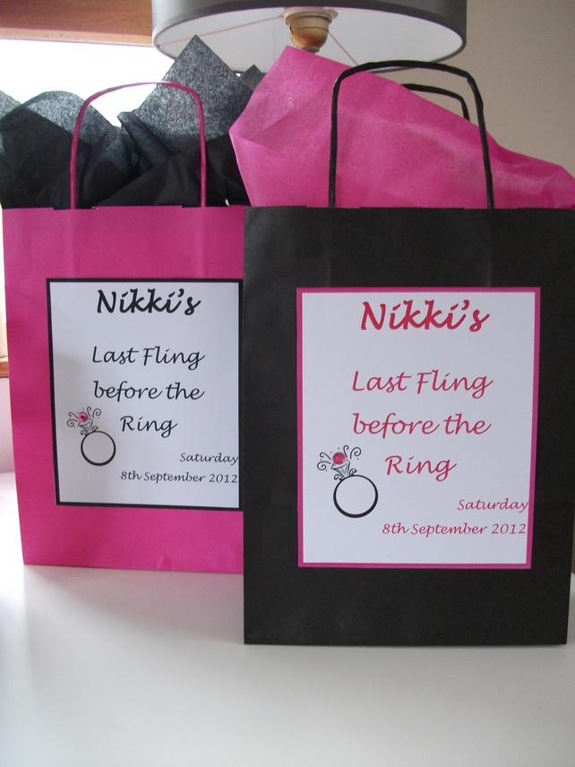 HANDMADE PERSONALISED HEN NIGHT PARTY GIFT BAGS x 5 £7.75