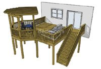 Deck Plans.  the stairs over a little bit from the sliding glass doors, and a latching gate across the top of them