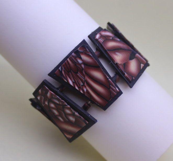 Braccialetto trapezi fantasia ali marrone. Brown wings bracelet.