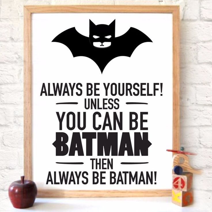 Super Hero Цитата Искусство печать Холст Бэтмен Плакат, холст Картины, Wall Art Супер Герой Детская комната декор, кадры Не включены