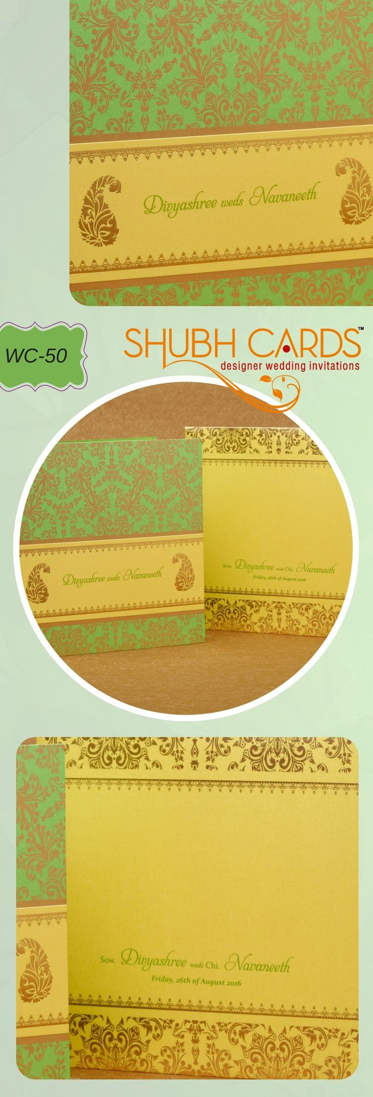 A perfect mix of parrot green background for the floral designs in gold makes this #WeddingInvitation unique. The other half of the #Invite has two paisley designs in gold enclosing the names of the bride and the groom.  The #WeddingCard's cover in full bright yellow with its flowery borders in gold gives, richness to the #card.  #DesignerWeddgingInvitation #WeddingInvite #LuxuryWeddingCards #ShubhCards