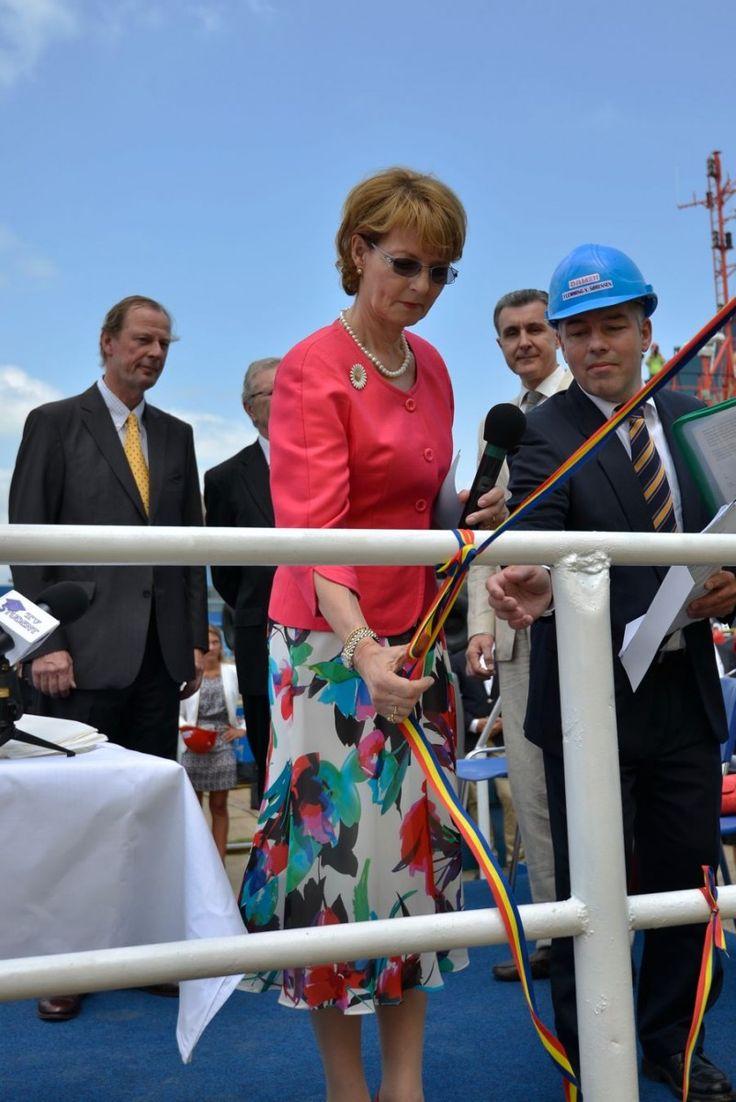 HRH Crown Princess Margareta of Romania outclasses all the women in todays Romanian politics - here launching a ship at Galati, 28 June 2013
