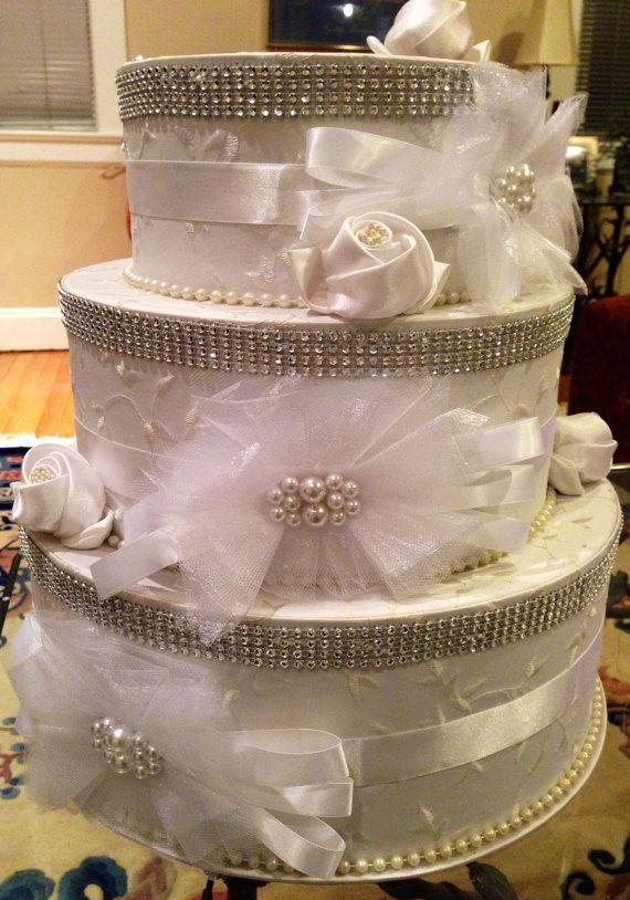 Wedding Card /Keepsake Box .....Total Rhinestone Bling  with Satin Ribbon and Bows and Faux Pearls