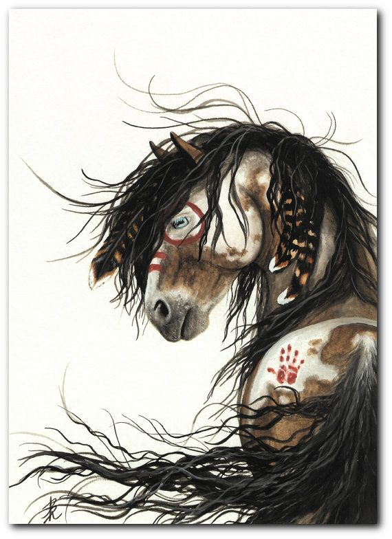Mustang Horse Pinto Native American Feathers War by AmyLynBihrle, $7.99