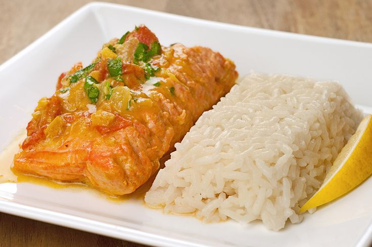 Sauce ~ Salmon simmered in a fragrant sauce made with coconut milk ...