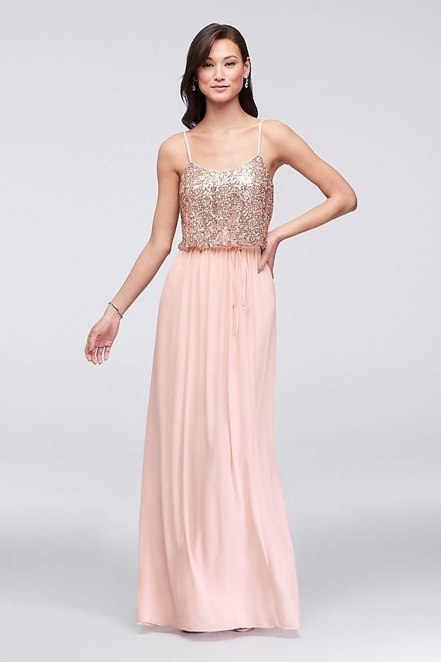 fd875762 Long Sequin Blouson Bridesmaid Dress | David's Bridal | Glamorous ...