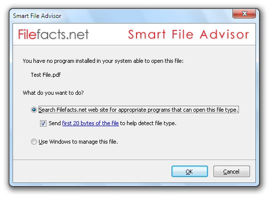 Smart File Advisor will help you find appropriate programs to open your files using Filefacts.net web site database. If you are having problems to open some specific files in your system install Smart File Advisor and it will help you. Smart File Advisor will be able to identify the type of the file you want to open even if it has a wrong file extension by analyzing file contents.