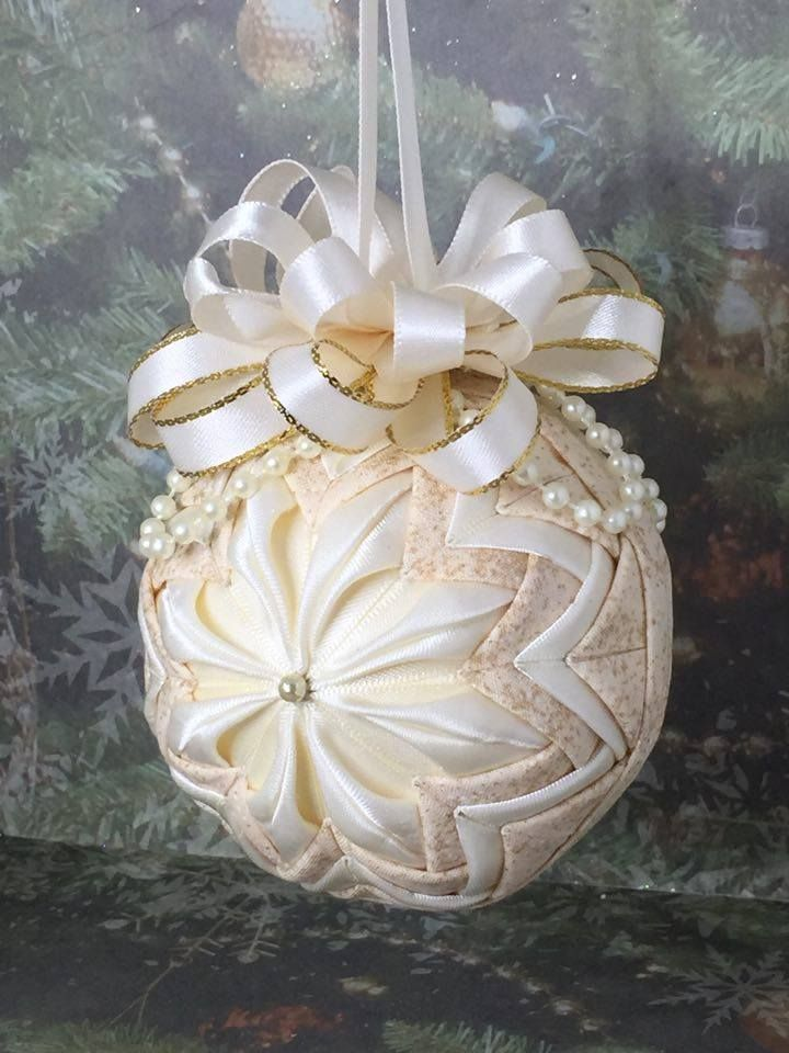 Handmade no sew Quilted ornament in ivory