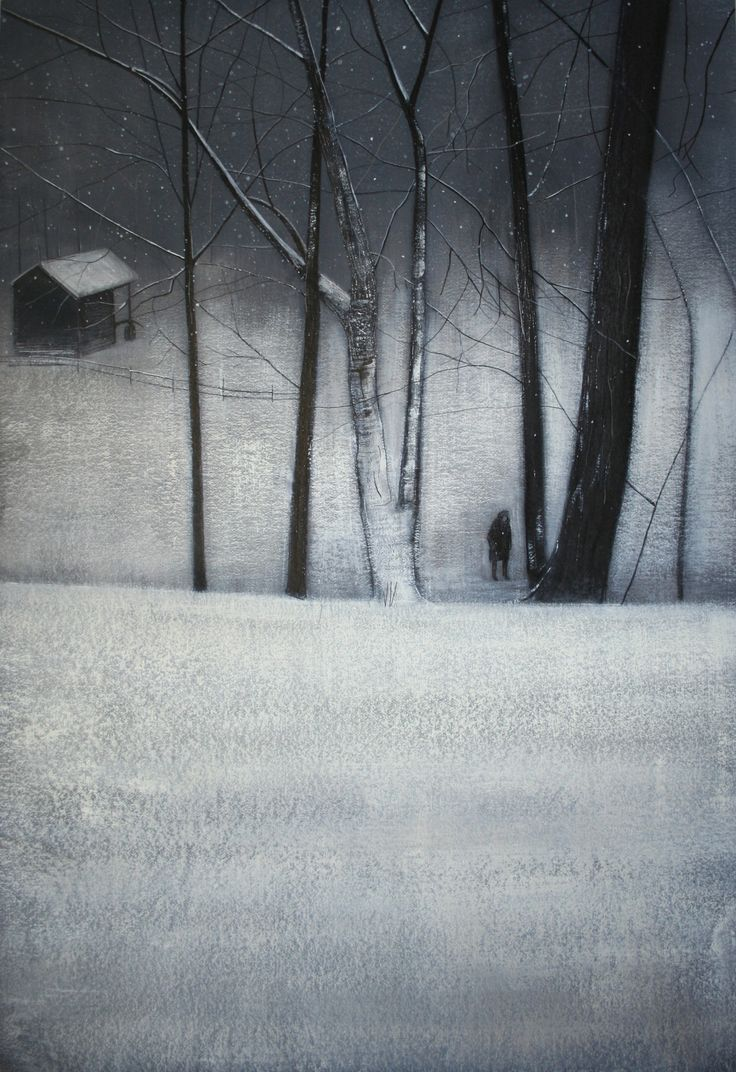 """""""Yuki Amongst Trees in Winter II"""" by  Thomas Lamb, 2012 (ink, acrylic and charcoal on paper)"""