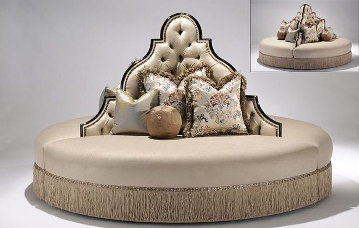 Luxury furniture at its finest. Unique high style round sofa foyer or lobby seating.