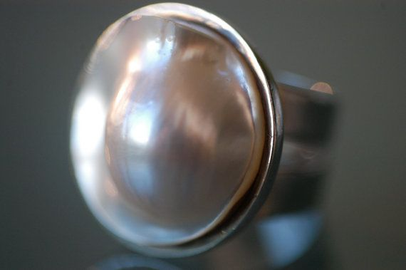 Austrialian Mabe Pearl Ring with Sterling Silver by MahaJewels