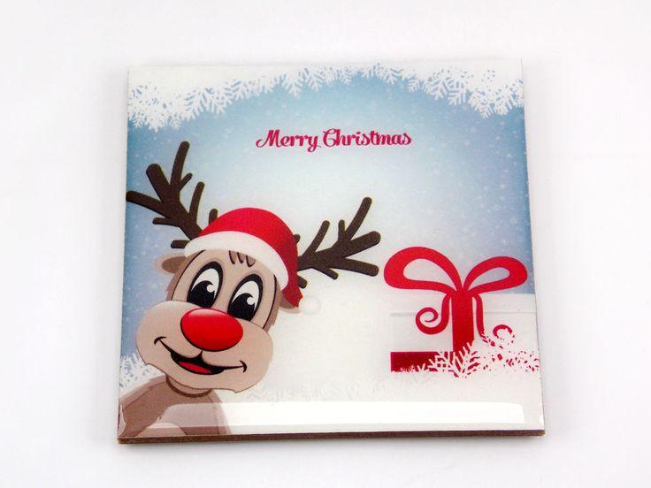 Merry Christmas Reindeer Gift Box Drink Coaster Unique Gift MDF Wood Osarix