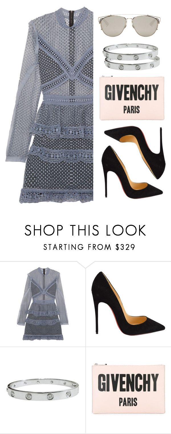 """""""Trés Chique Outfit"""" by kydajenner on Polyvore featuring mode, self-portrait, Christian Louboutin, Cartier, Givenchy, Christian Dior, StreetStyle, chic, chique en chicoutfit"""