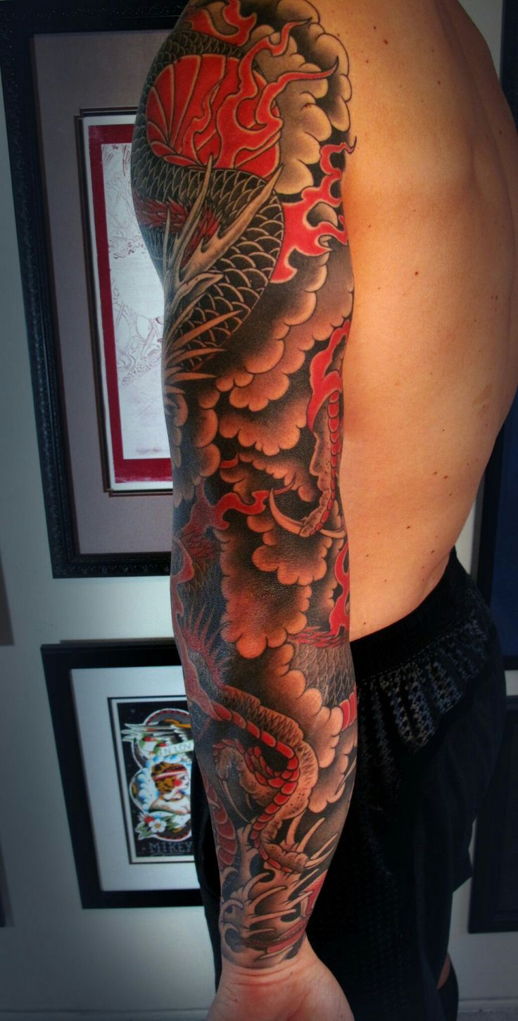 Best Dragon Sleeve Images On Pinterest Japanese Tattoos Dragon