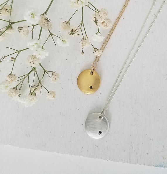 312f1a372a8d3 Gold disc necklace, round pendant necklace, gold dainty necklace ...