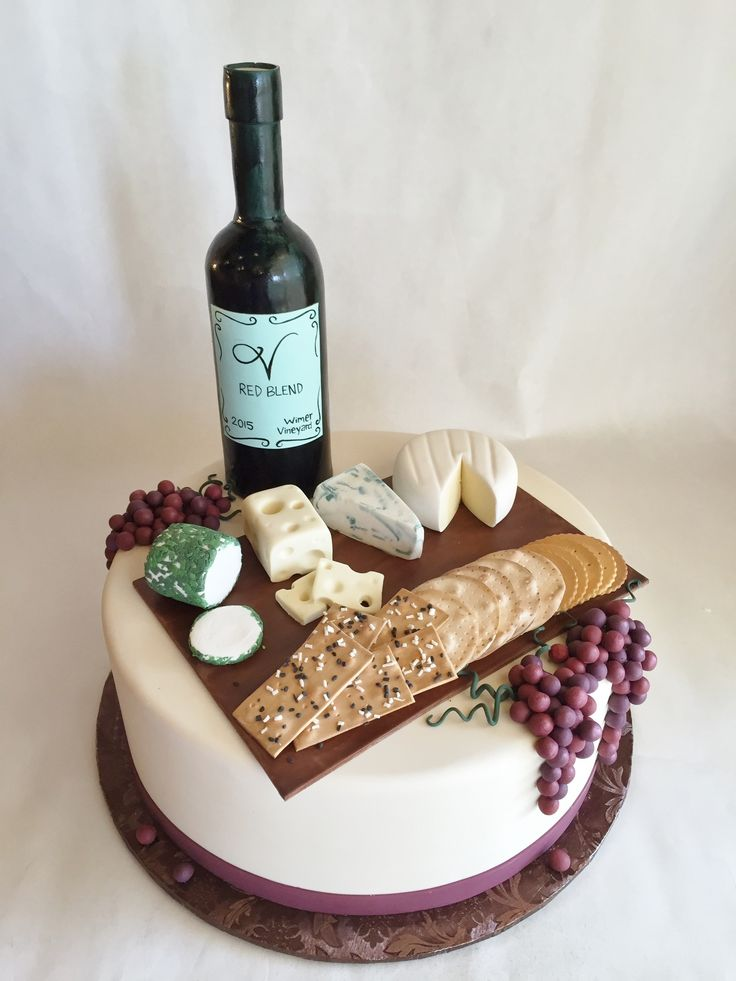 Custom Cake | Birthday Cake | Fondant | Custom Toppers | Wine | Cheese | Crackers | Grapes | Baked Custom Cakes | Aged to Perfection