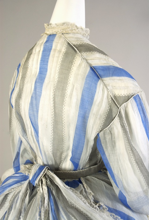 Blue and white striped cotton dress, probably American, 1860s. Silverman/Rodgers Collection, Kent State University Museum, 1983.1.122. (Photograph by Joanne Arnett, 2012.)