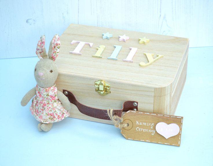 Baby Memory Box Keepsake Box Pastels Children's suitcase style Memory Box New Baby Gift Birthday Gift Personalised Memory Box by Popsyclunk on Etsy
