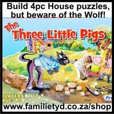 3 Little Pigs Puzzle Game: Be the first one to complete your straw, wooden and brick houses. But watch out for the big, bad wolf! Each house is a 4-piece puzzle that the player has to build. But when you land on the wolf, you loose one puzzle piece of your house.