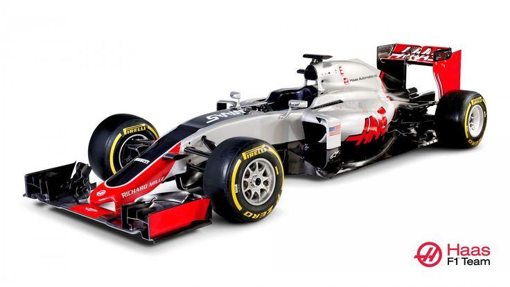 The 2016 Haas Formula 1 auto bearing the Richard Mille logo