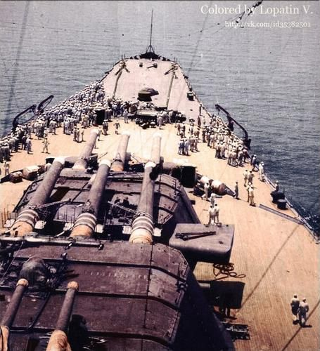 Foredeck of 72000 ton, 18.1 in super-battleship Yamato, giving a good impression of her colossal size: she and sister Musashi were much the largest battleships ever built.  They were both sunk by sustained US Navy air attacks, Musashi in October 1944 and Yamato in April 1945: the definitive end of the battleship era.