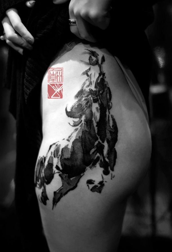 traditional Chinese painting style horse tattoo on thigh - 40 Awesome Horse Tattoos
